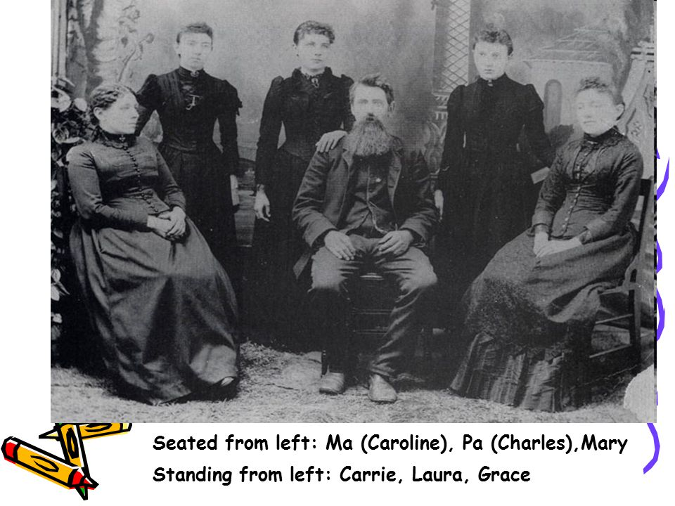 Seated from left: Ma (Caroline), Pa (Charles),Mary
