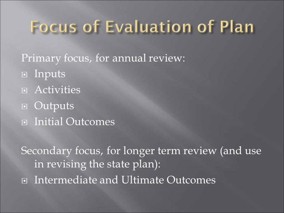 Primary focus, for annual review:
