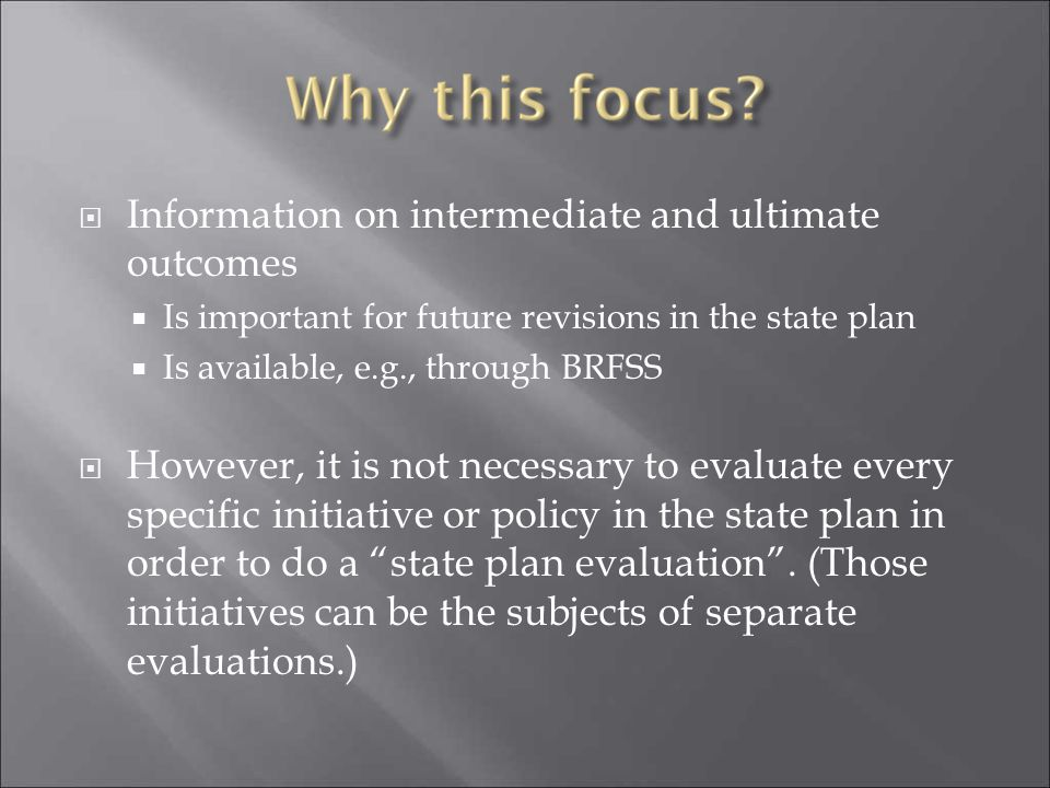 Information on intermediate and ultimate outcomes