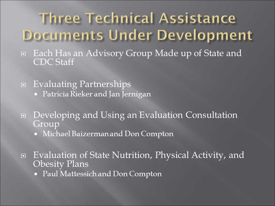 Each Has an Advisory Group Made up of State and CDC Staff