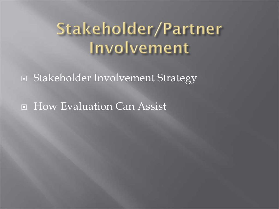 Stakeholder Involvement Strategy