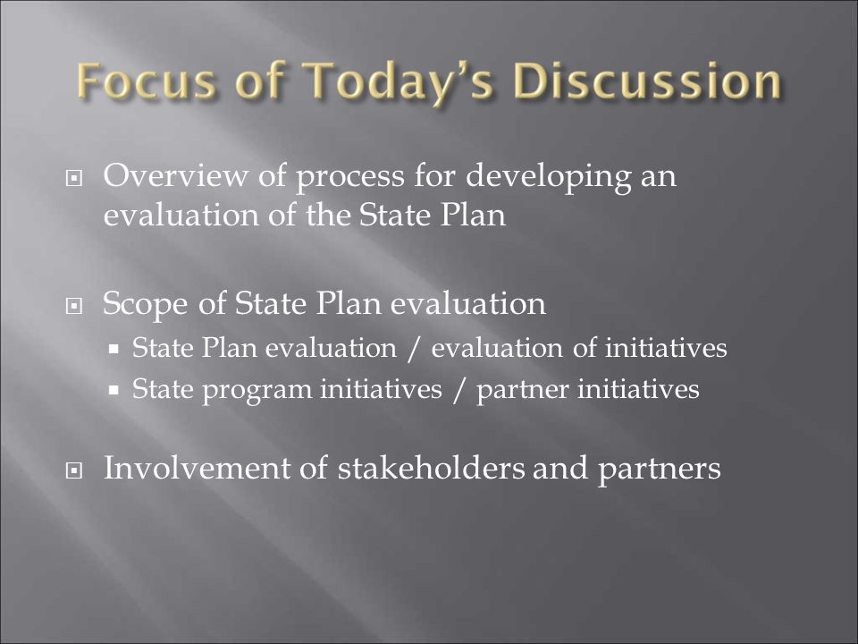 Overview of process for developing an evaluation of the State Plan