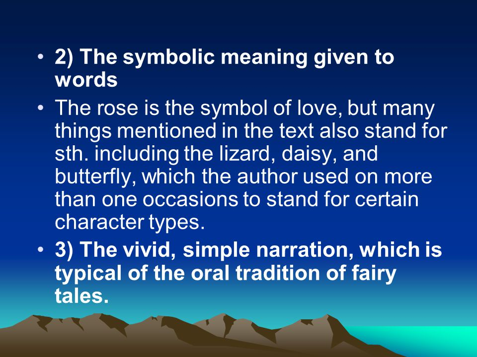 2) The symbolic meaning given to words