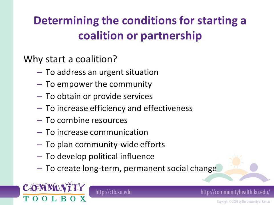 Determining the conditions for starting a coalition or partnership