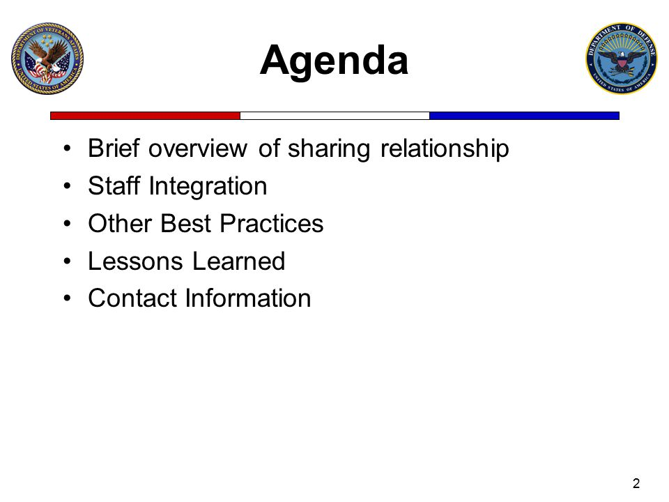 Agenda Brief overview of sharing relationship Staff Integration