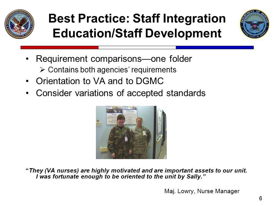 Best Practice: Staff Integration Education/Staff Development