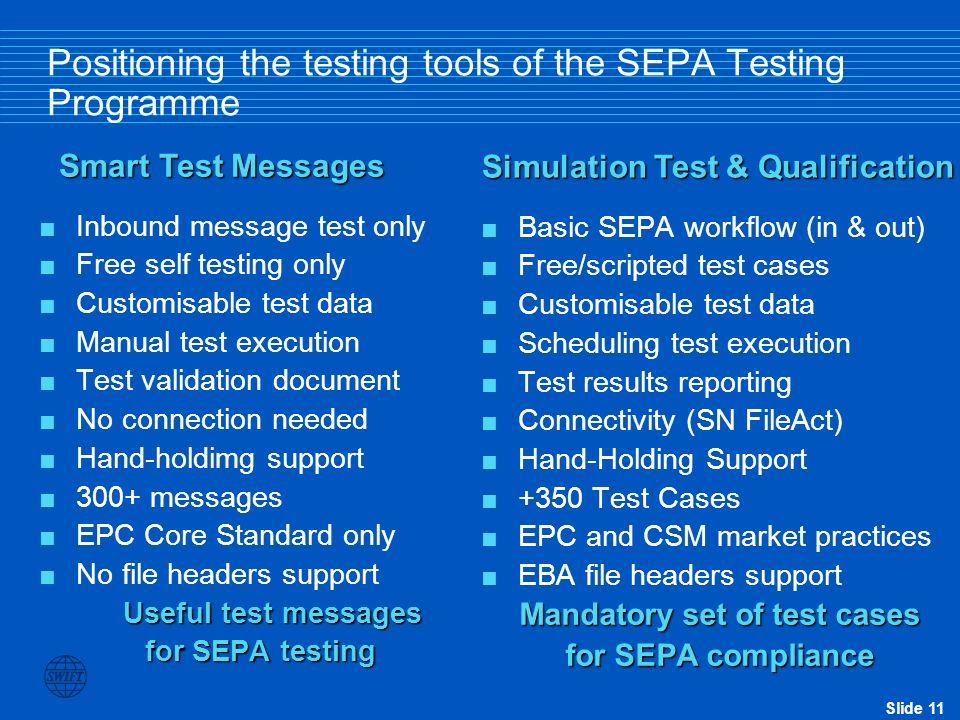 Positioning the testing tools of the SEPA Testing Programme