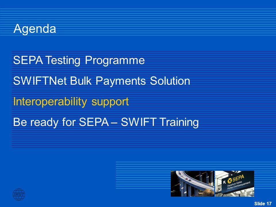 Agenda SEPA Testing Programme SWIFTNet Bulk Payments Solution
