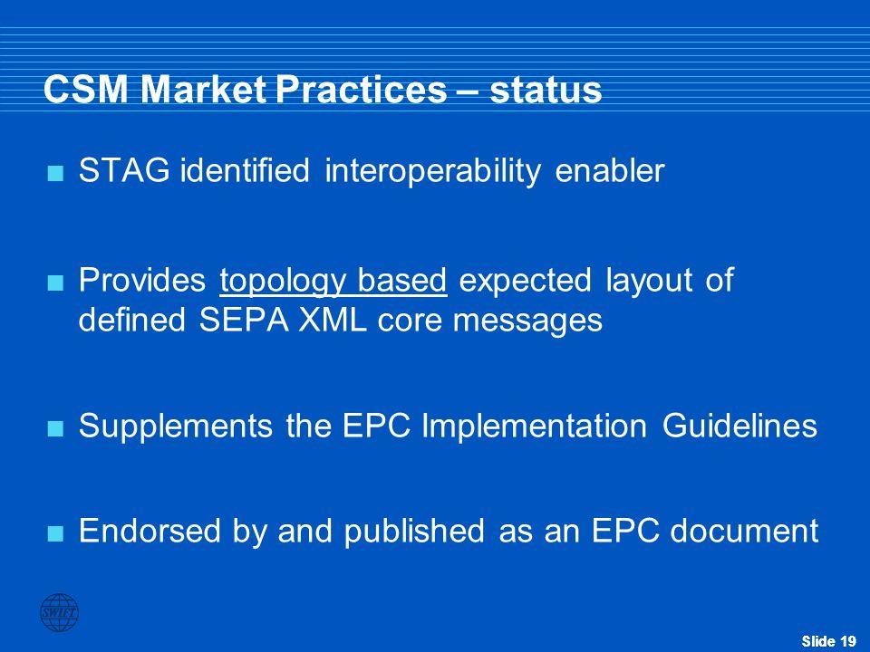 CSM Market Practices – status