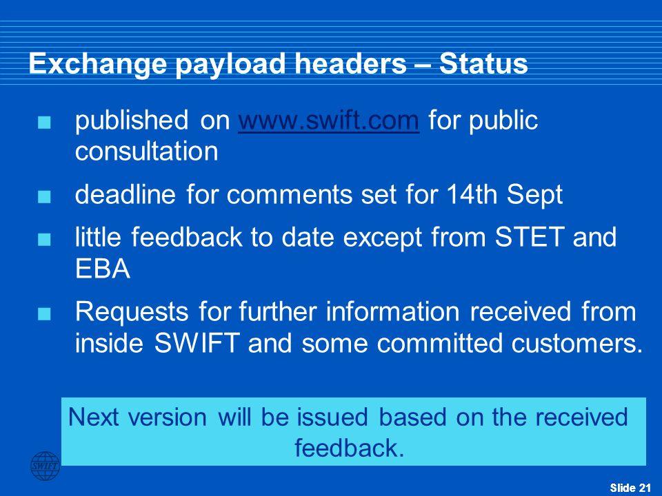 Exchange payload headers – Status