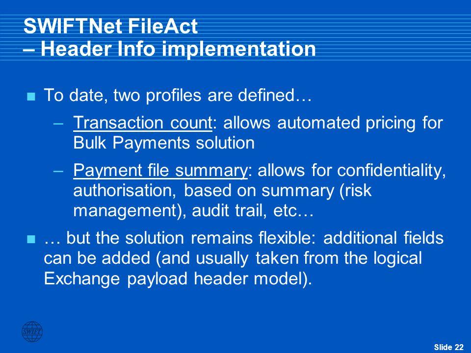 SWIFTNet FileAct – Header Info implementation
