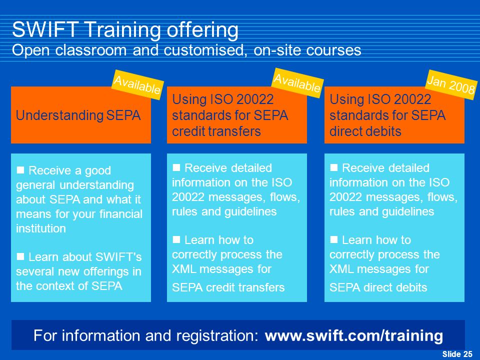 SWIFT Training offering Open classroom and customised, on-site courses