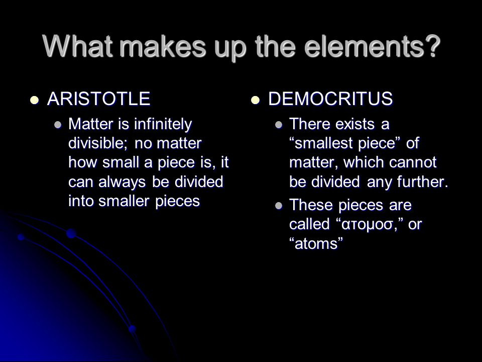 What makes up the elements