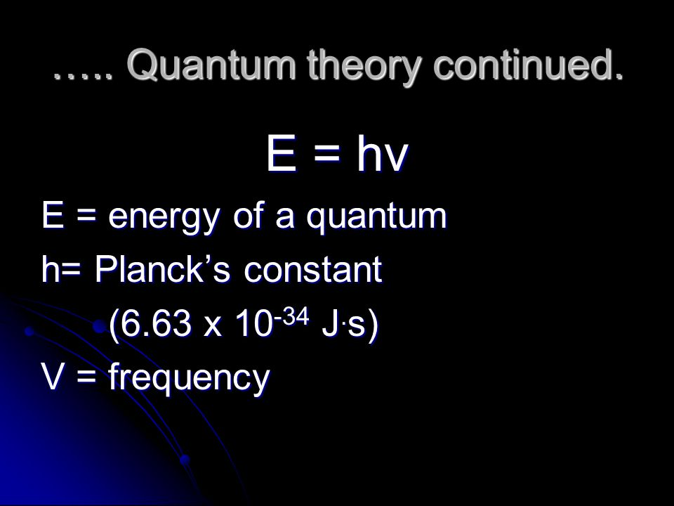 ….. Quantum theory continued.