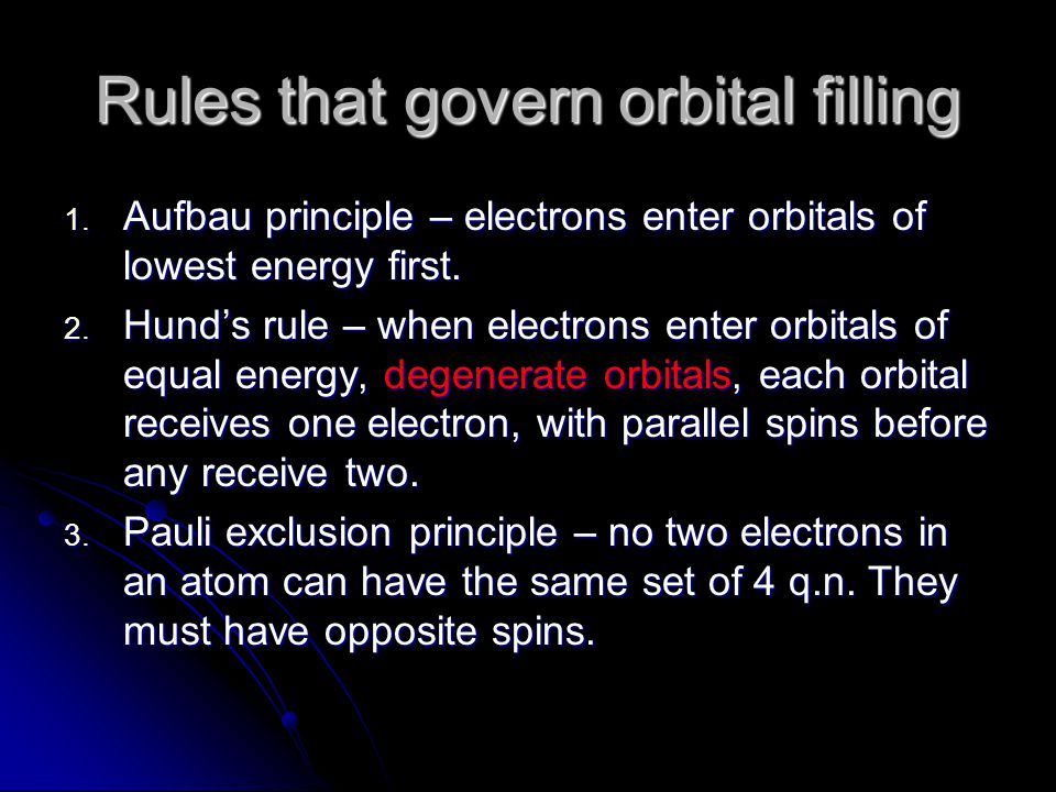 Rules that govern orbital filling