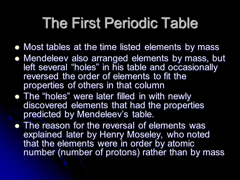 The First Periodic Table