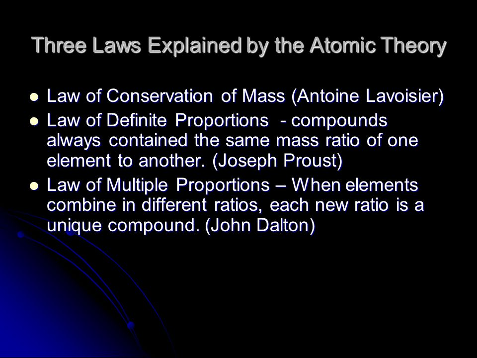Three Laws Explained by the Atomic Theory