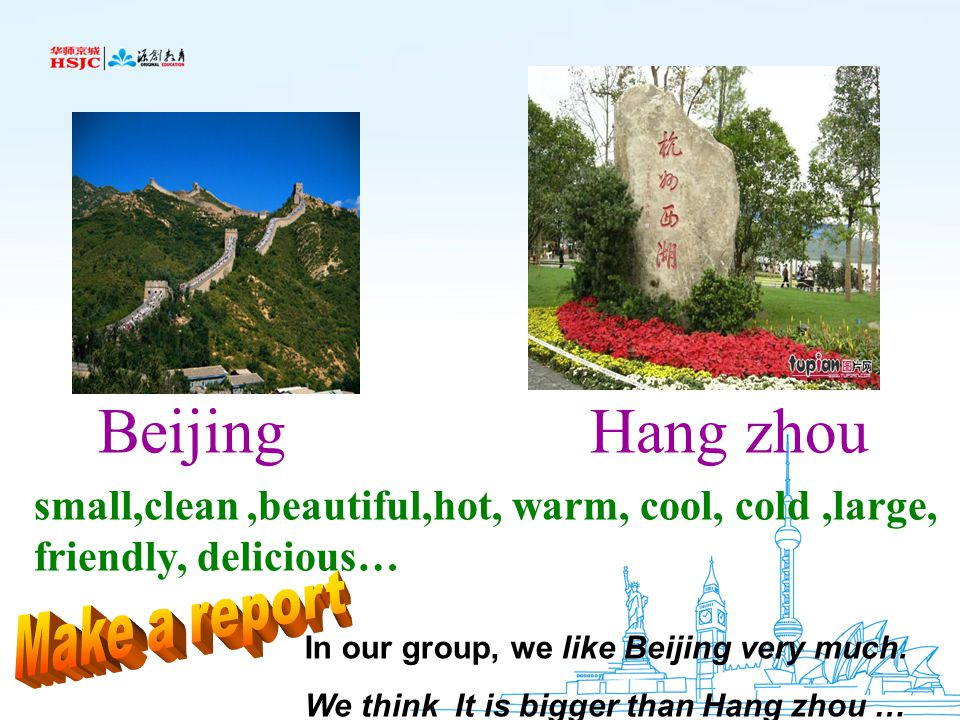 Beijing Hang zhou small,clean ,beautiful,hot, warm, cool, cold ,large, friendly, delicious…