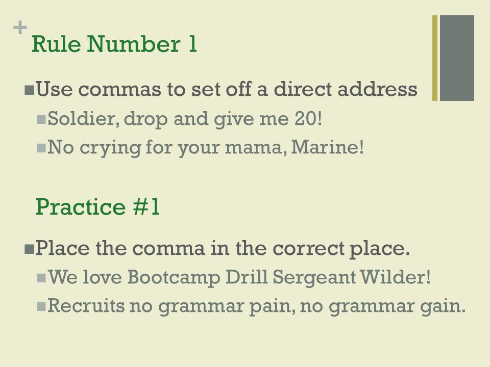 Rule Number 1 Practice #1 Use commas to set off a direct address