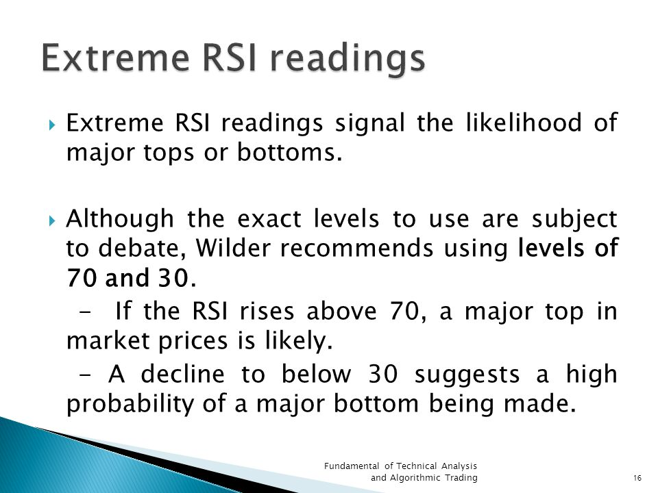Extreme RSI readings Extreme RSI readings signal the likelihood of major tops or bottoms.
