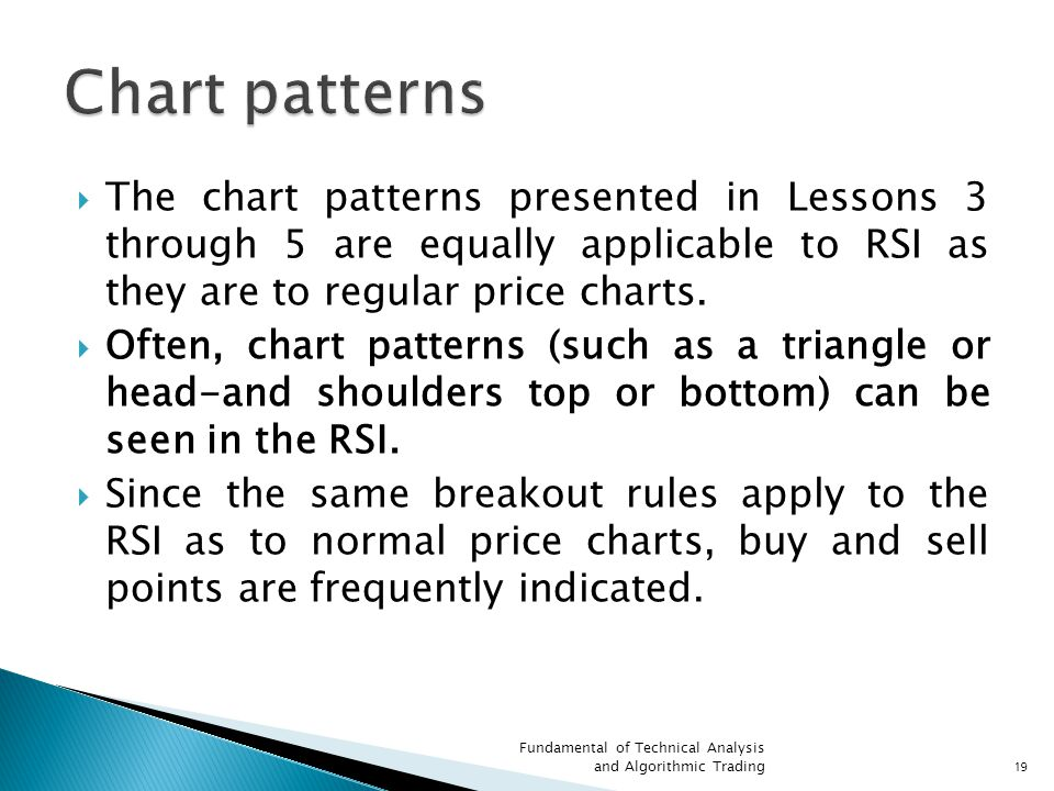 Chart patterns The chart patterns presented in Lessons 3 through 5 are equally applicable to RSI as they are to regular price charts.