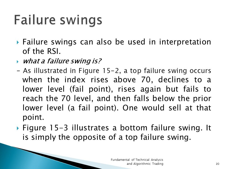 Failure swings Failure swings can also be used in interpretation of the RSI. what a failure swing is