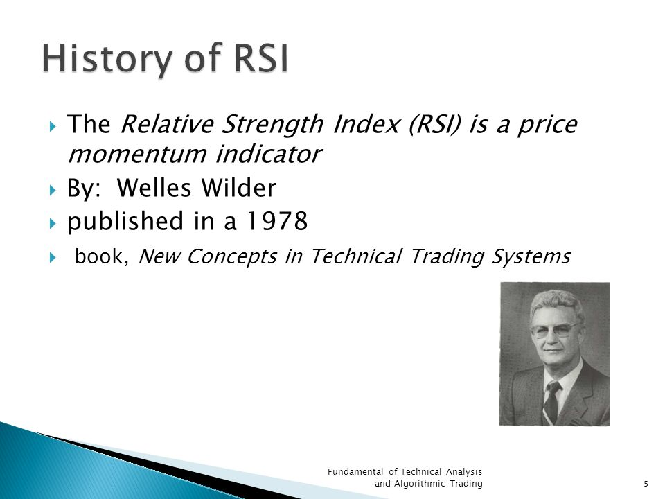 History of RSI The Relative Strength Index (RSI) is a price momentum indicator. By: Welles Wilder.
