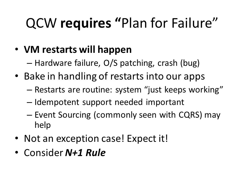 QCW requires Plan for Failure