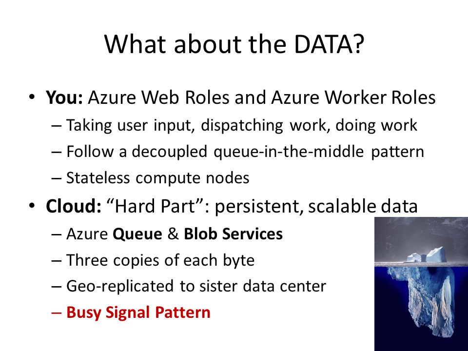 What about the DATA You: Azure Web Roles and Azure Worker Roles