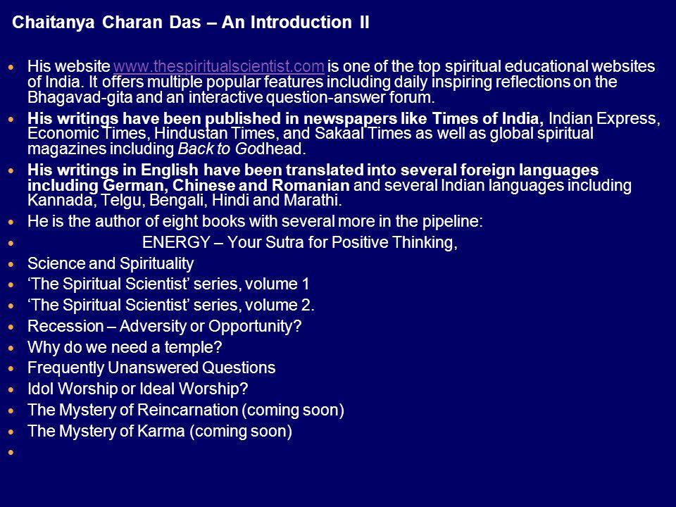 Chaitanya Charan Das – An Introduction II