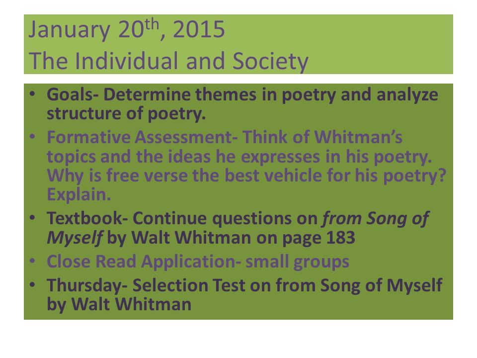 January 20th, 2015 The Individual and Society