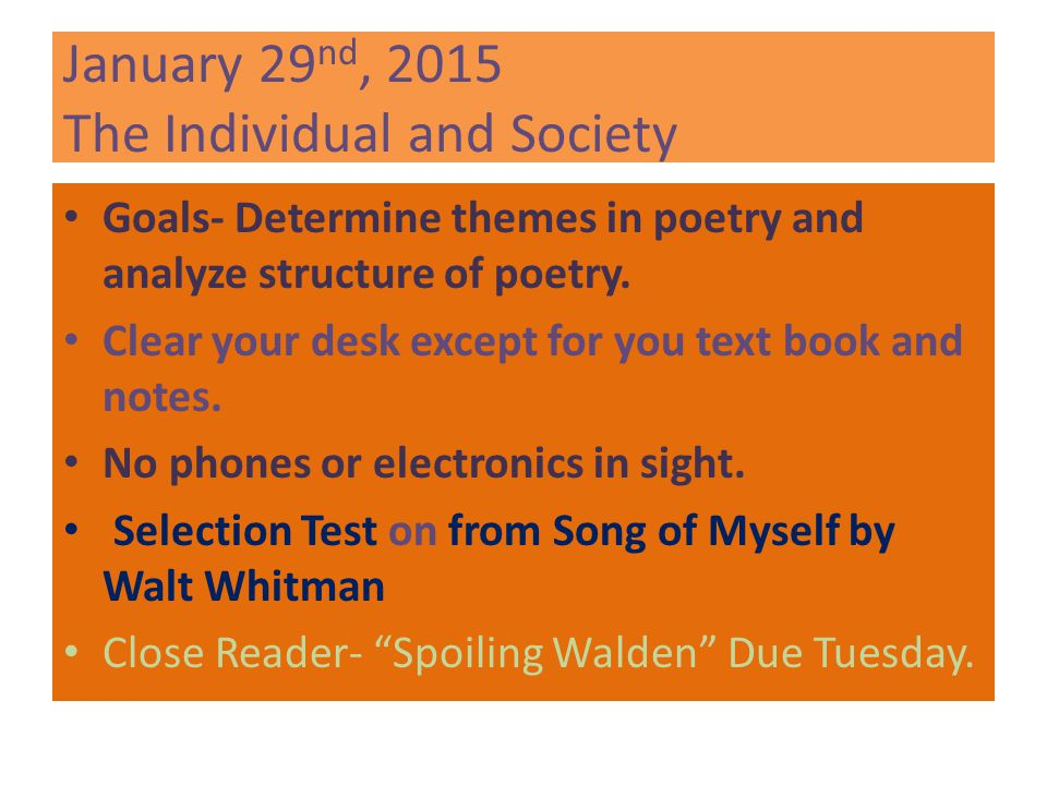 January 29nd, 2015 The Individual and Society