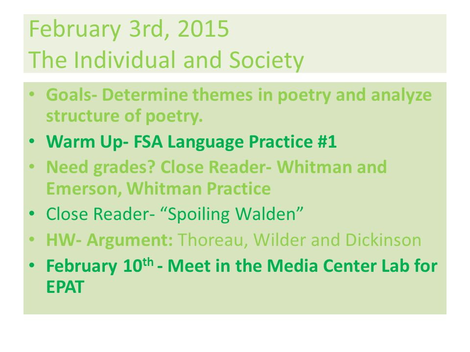 February 3rd, 2015 The Individual and Society