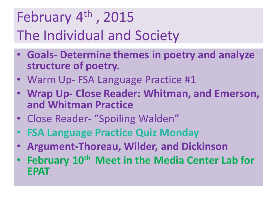 February 4th , 2015 The Individual and Society