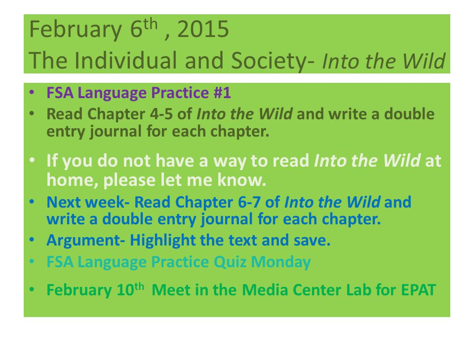 February 6th , 2015 The Individual and Society- Into the Wild