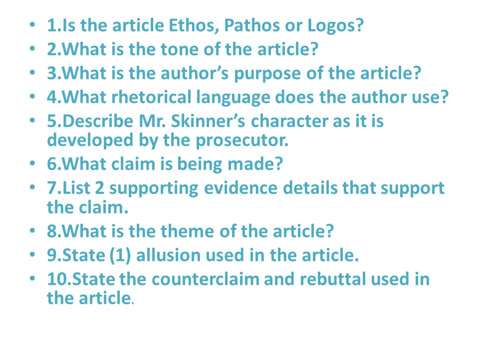 1.Is the article Ethos, Pathos or Logos