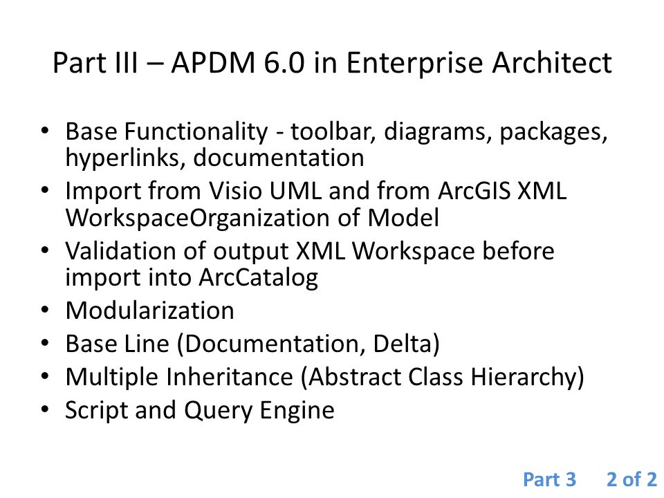 Part III – APDM 6.0 in Enterprise Architect