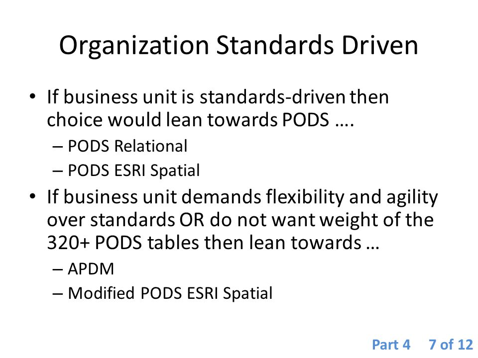 Organization Standards Driven