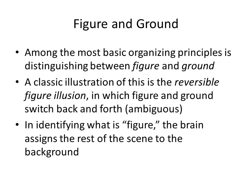 Figure and Ground Among the most basic organizing principles is distinguishing between figure and ground.