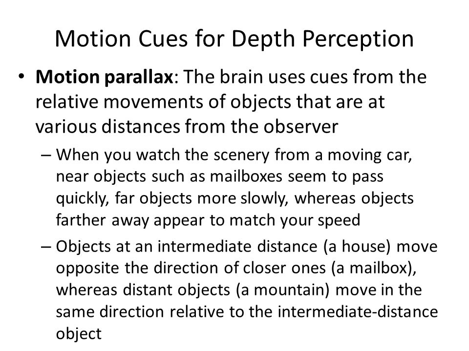 Motion Cues for Depth Perception