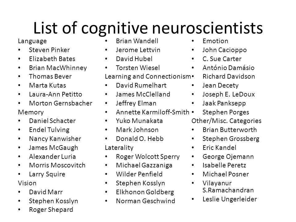 List of cognitive neuroscientists