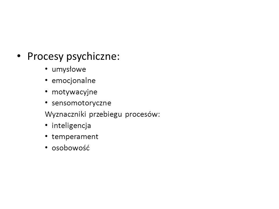 Procesy psychiczne: umysłowe emocjonalne motywacyjne sensomotoryczne