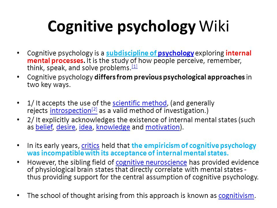 Cognitive psychology Wiki