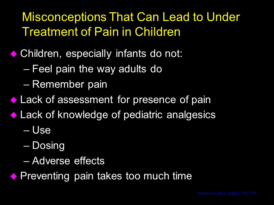 Misconceptions That Can Lead to Under Treatment of Pain in Children