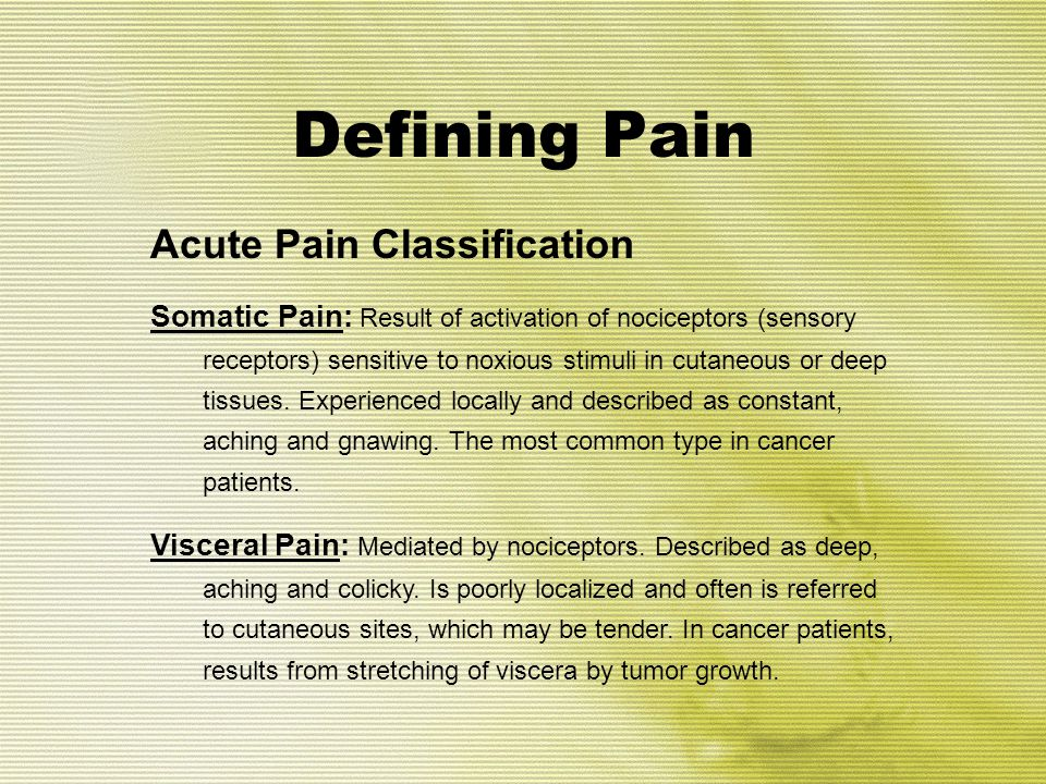 Defining Pain Acute Pain Classification