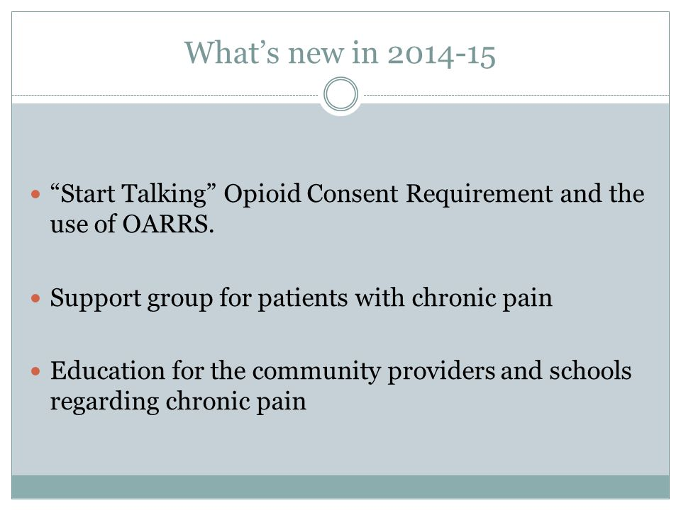 What's new in 2014-15 Start Talking Opioid Consent Requirement and the use of OARRS. Support group for patients with chronic pain.