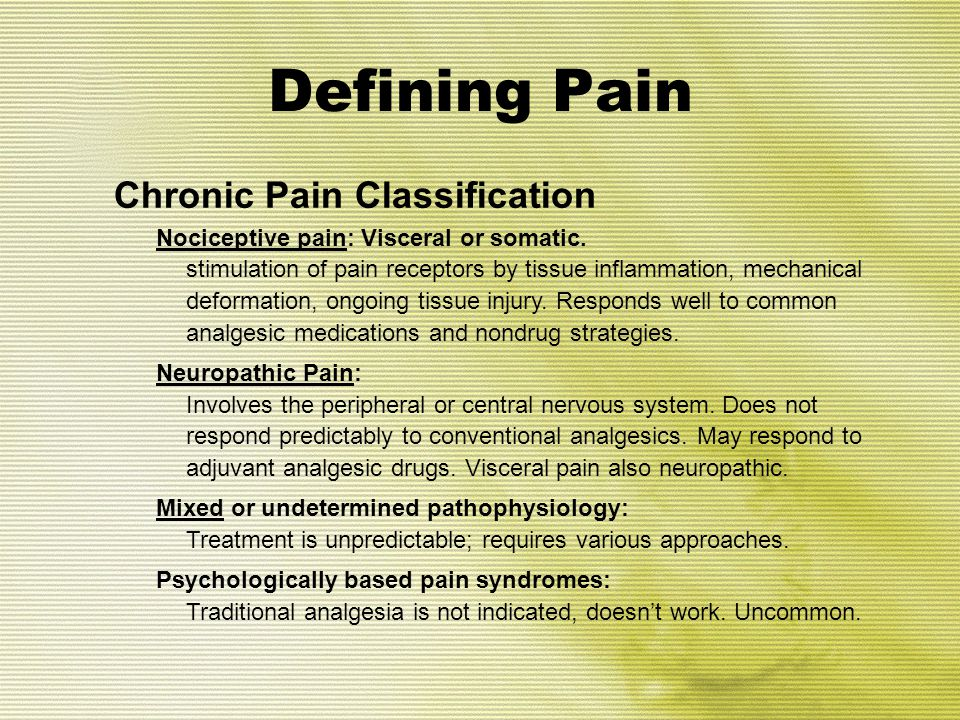 Defining Pain Chronic Pain Classification