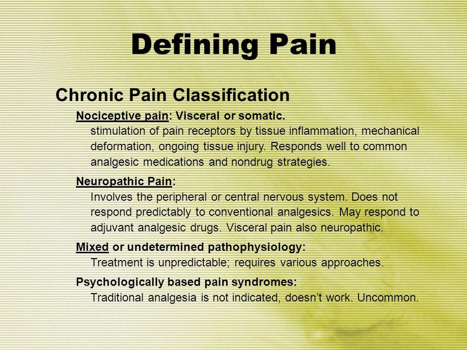 Defining Pain Chronic Pain Classification