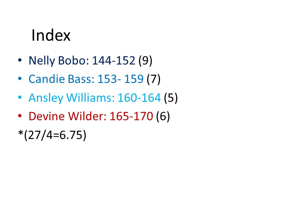 Index Nelly Bobo: 144-152 (9) Candie Bass: 153- 159 (7)