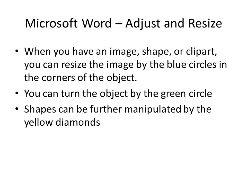 Microsoft Word – Adjust and Resize